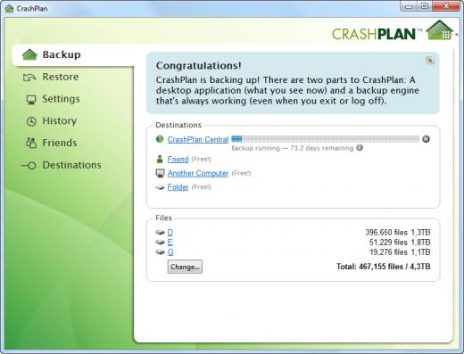 Окно программы резервного копирования CrashPlan